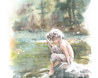 Print Watercolor reproduction of a small fisherman by the river in the forest of Fraser Ridge Tree Nature Calm Mountain Landscape