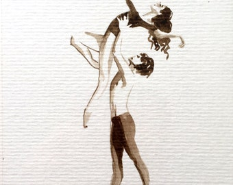 Small original and unique painting Ink stain of walnut Sepia Paper Art Modern couple of dancers kissing Offer kiss and sweat love artwork