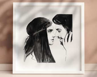 Indian ink black and white, couple looking at each other with love woman hair long bearded man Original and unique drawing 29x29cm art paper