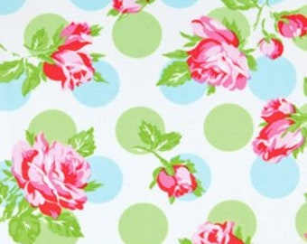 "ROLL END 40% off, 34"", 56 wide, Laminated cotton fabric aka oilcloth Tanya Whelan Falling Roses Blue"