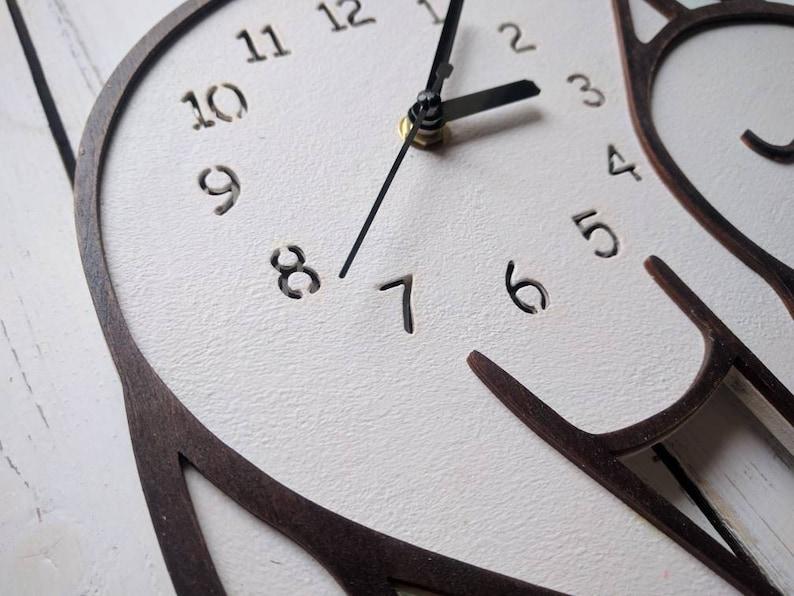 Cat,wall clock, children clock, modern wall clock, cat clock, nursery wall clock,wooden clock, nursery clock, kids wall clock, quiet clock