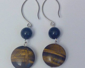 Silver Earring, Onyx and Tiger eye