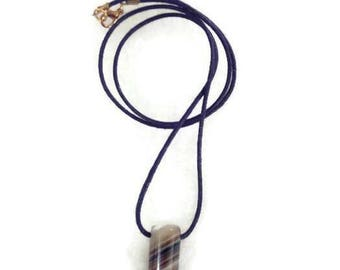 Necklace with tusk pendant agate mens waxed cotton cord