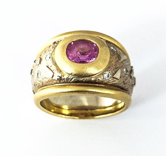 Two Tone Gold Pink Sapphire & Diamond Wide Band - image 1