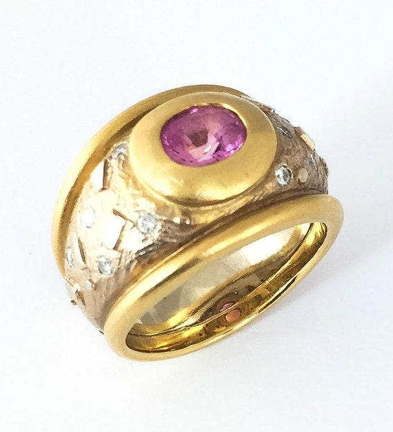 Two Tone Gold Pink Sapphire & Diamond Wide Band - image 2