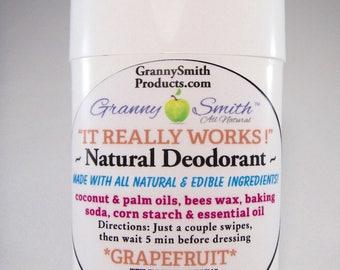 Natural Deodorant, Underarm Deodorant, Aluminum Free; Grapefruit Essential oil, 1 ~ 2 oz. tube