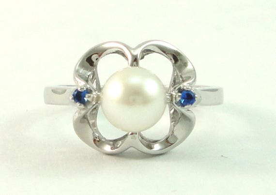 Pearl Ring, Pearl Ring Sapphire, Pearl Ring White