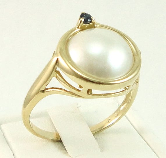 Pearl Gold Ring, Pearl Sapphire Ring, 14kt Gold, M