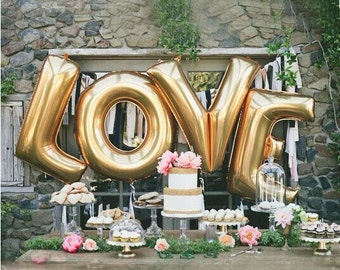 """GIANT 40"""" Gold LOVE Balloons 4 Piece Set - Engagement Party Bridal Shower Wedding Reception Valentine's Day JUMBO"""