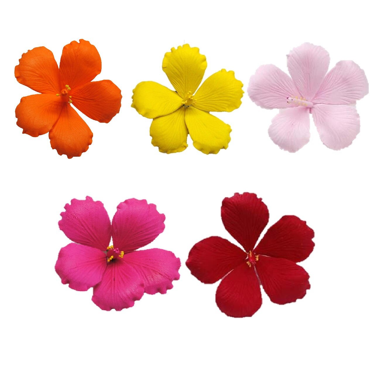 5 Flower Set 35 Gumpaste Hibiscus Orange Yellow Red Hot Etsy