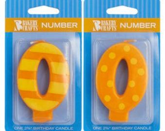 "0 Birthday Candle - 2.75"" Orange Dots & Stripes #0 number zero"
