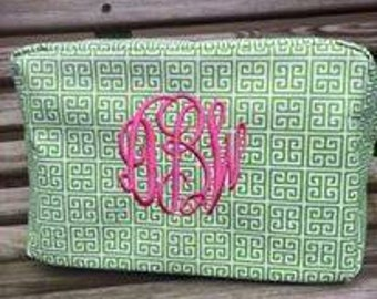 Embroidered Monogrammed Greek Key Cosmetic Bag
