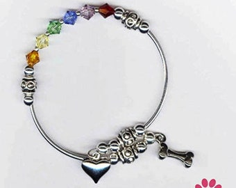 I will wait For You At The Rainbow Bridge Remember a Pet Pet Loss Bracelet Silver Plate Rainbow Bridge Jewelry Pet Loss Jewelry Dog Loss