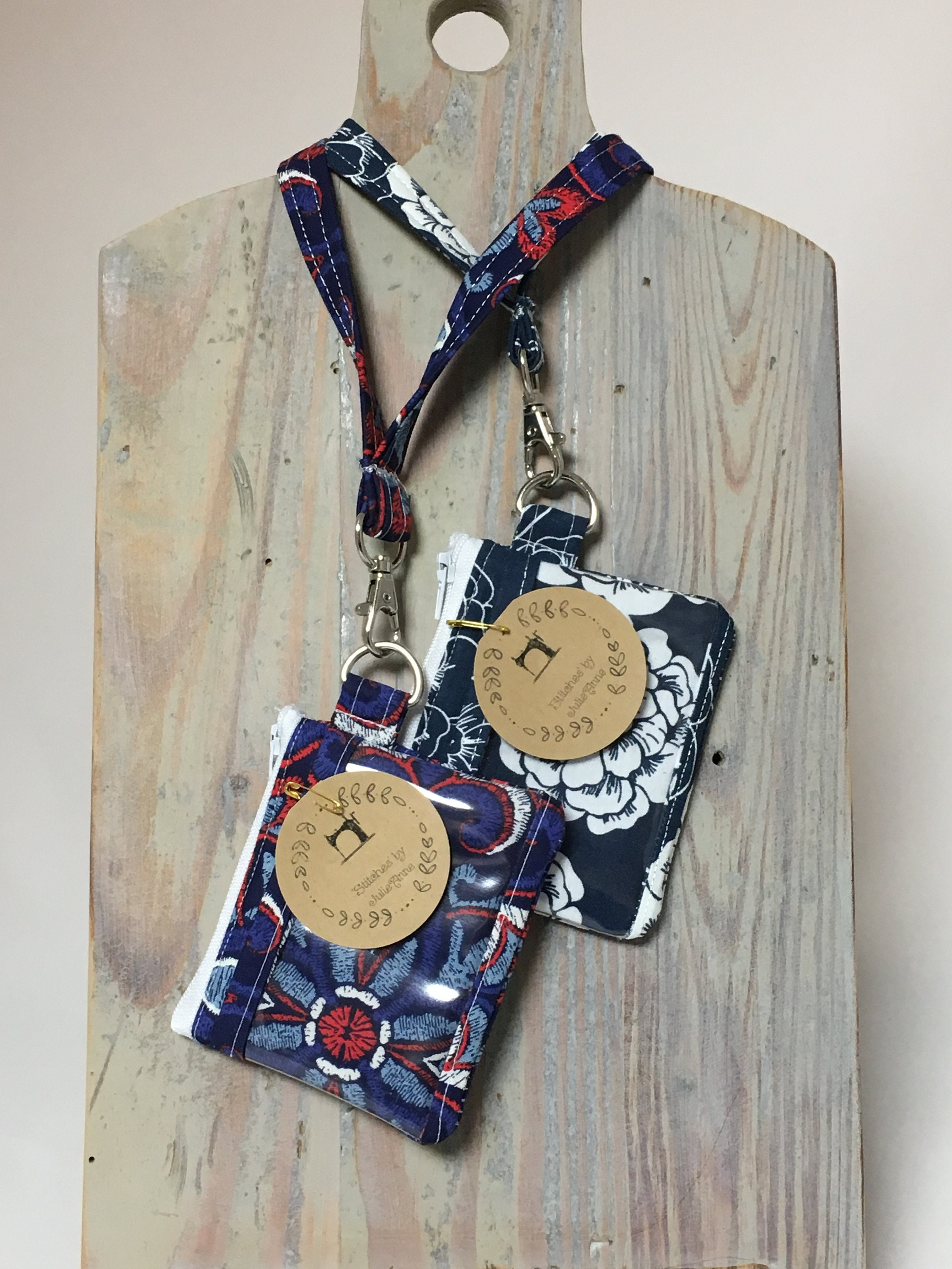 Red White Blue Floral Chevrontravel Id Lanyard Zippered