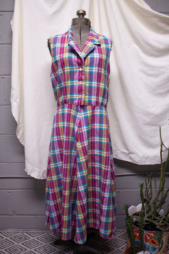 Pink Plaid Picnic Swing Dress - image 1