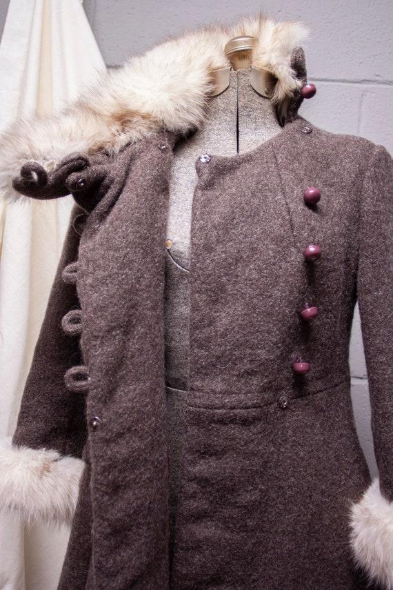 1940s Rabbit Fur and Wool Princess Coat - image 9