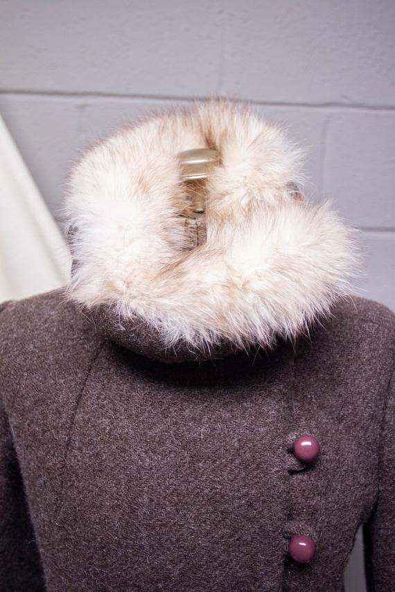 1940s Rabbit Fur and Wool Princess Coat - image 4