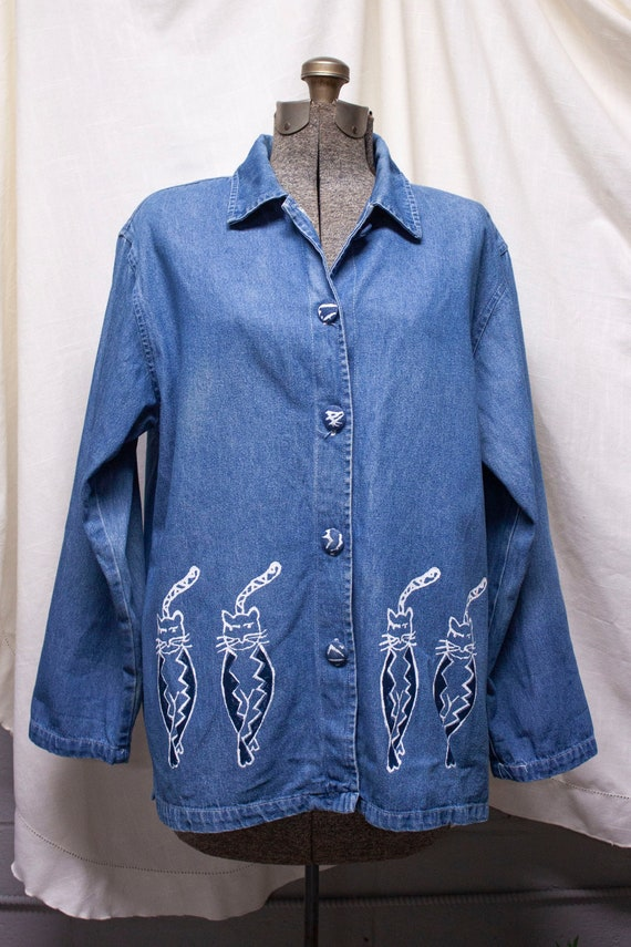 90s Painted Cat Denim Chore Coat