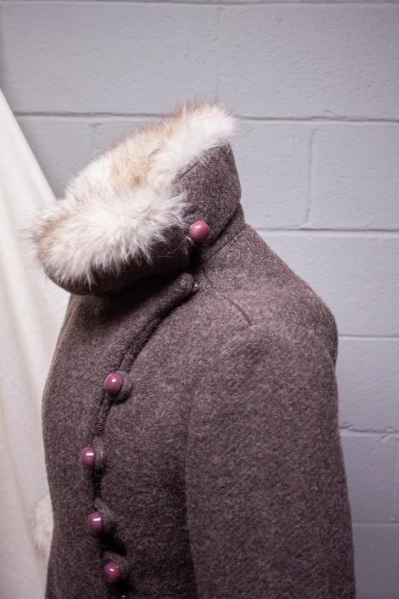 1940s Rabbit Fur and Wool Princess Coat - image 5