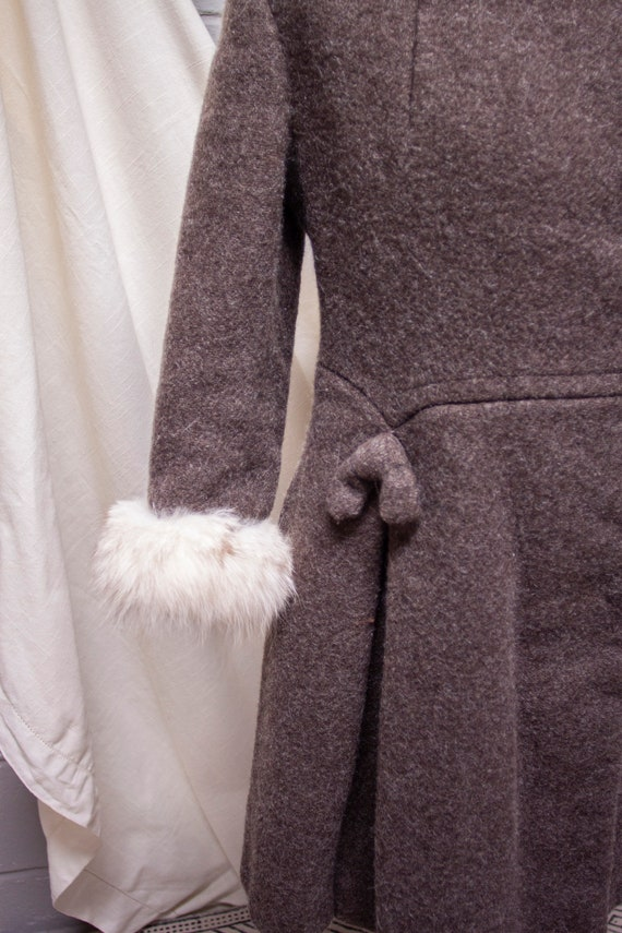 1940s Rabbit Fur and Wool Princess Coat - image 2
