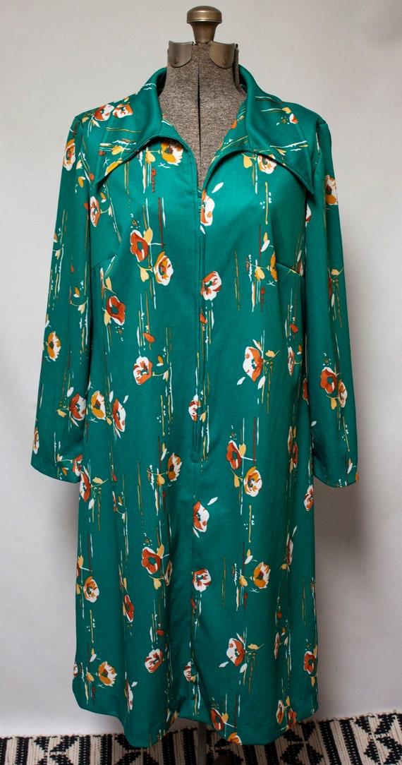 1970s Emerald Green Long Sleeve Boho Shirt Dress