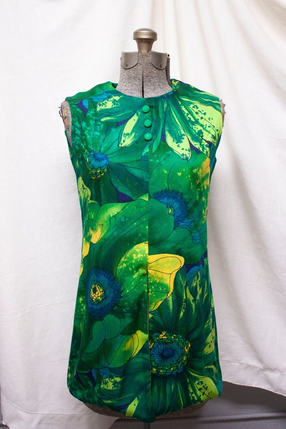 60s Psychedelic Handmade Tunic Dress