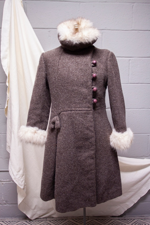1940s Rabbit Fur and Wool Princess Coat