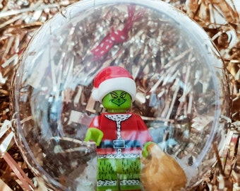 hand made the grinch themed minifigure christmas baubles decorations fit lego gift boxed - The Grinch Themed Christmas Decorations
