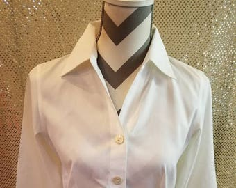 e8570b40a89006 Talbots ladies Blouse size 2 Petite White Casual Office Dinner vintage  interview Office Party School