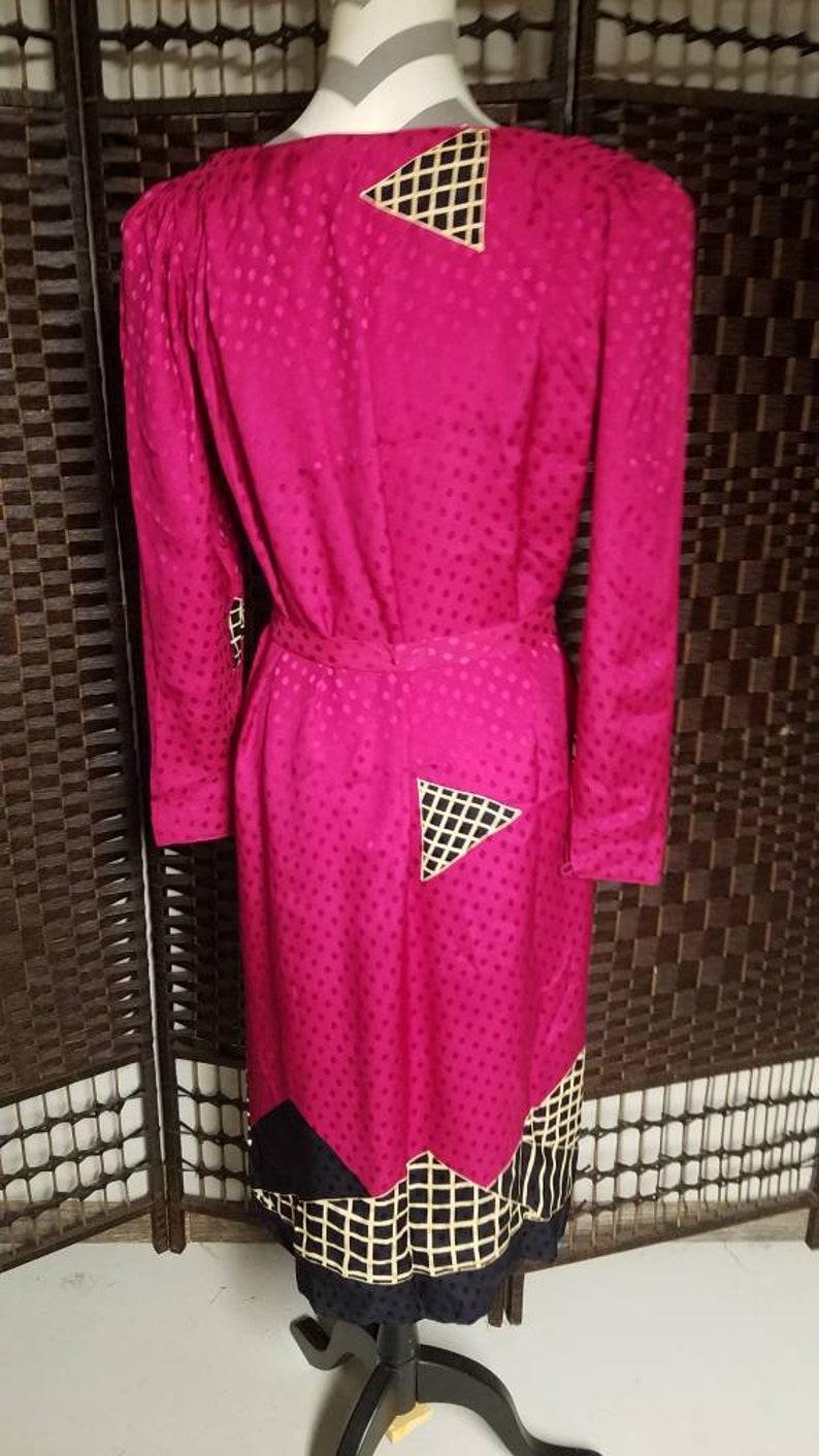 Vintage AP LTD Ladies Dress Size 6 Fuschia Black Silk Casual Dinner Wedding