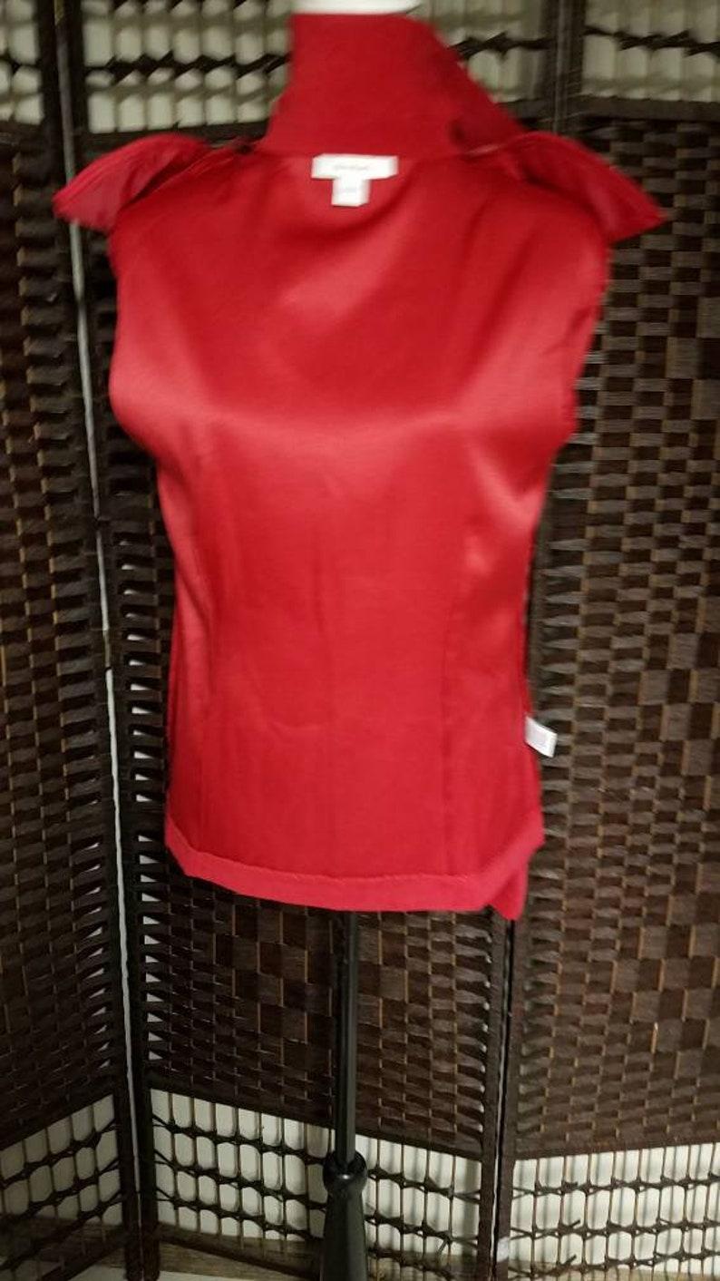 Vintage Dressbarn Ladies Zip Up Jacket Size Large Red Black Artsy Floral Casual