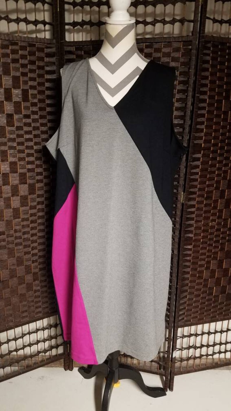 Vintage Lane Bryant Ladies Dress Plus Size 28 Black Gray Magenta Office Casual