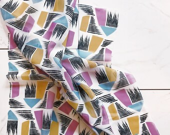 Silk Neck Scarf (purple geometric)
