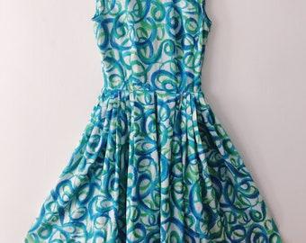 Blue Swirl Vintage Dress