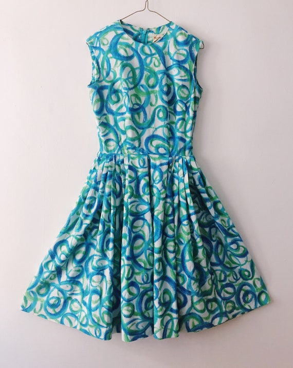 Blue Swirl Vintage Dress