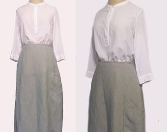 Vintage Minimal Gray Linen Skirt w/ Large Side Pocket