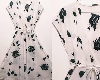 Vintage Black + White Floral Dress