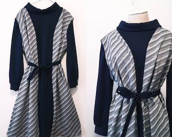 Vintage Navy Blue Turtle Neck Dress / Jacket Two Piece