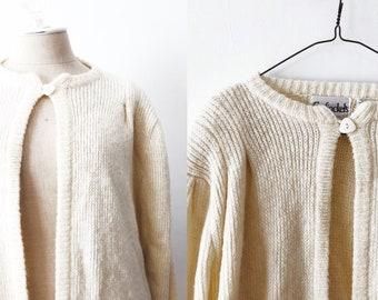 Vintage Cream Colored Wool Open Cardigan