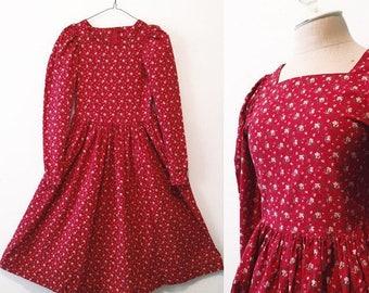 Vintage Red Floral Party Dress