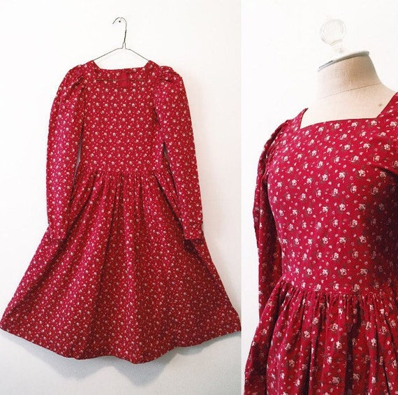 Vintage Red Floral Party Dress