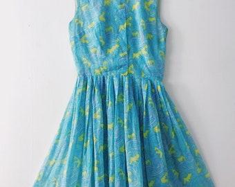 Vintage Blue Paisley Patterned Dress