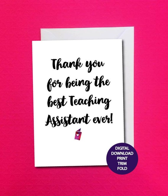 Teaching Assistant Card Printable Teacher Thank You Card Etsy