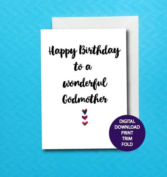 Godmother Birthday Card Printable God Mom Card Digital