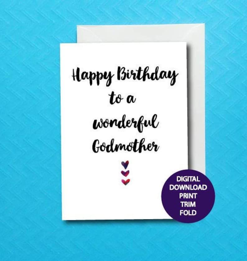 Godmother Birthday Card Printable God Mom Digital