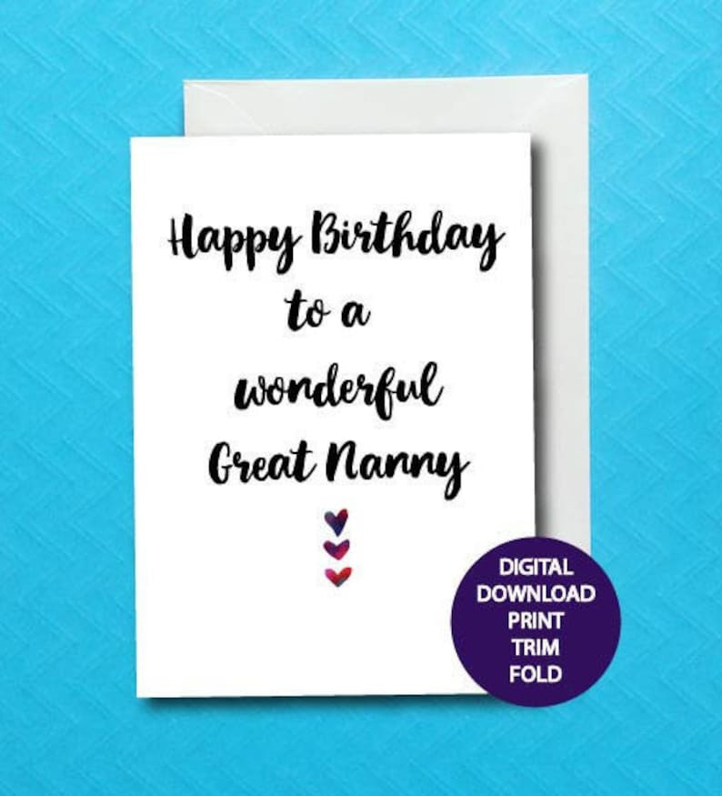 Great Nanny Birthday Card For Grandparent Printable