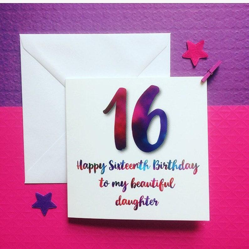 16th Birthday Card Daughter Beautiful