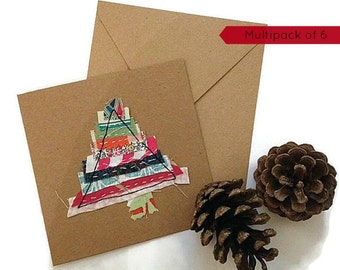 Christmas card pack, Multipack Christmas cards handmade, fabric Christmas cards, handmade Christmas cards, pack of 6