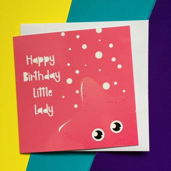 Starfish Birthday Card For Niece 1st Girl