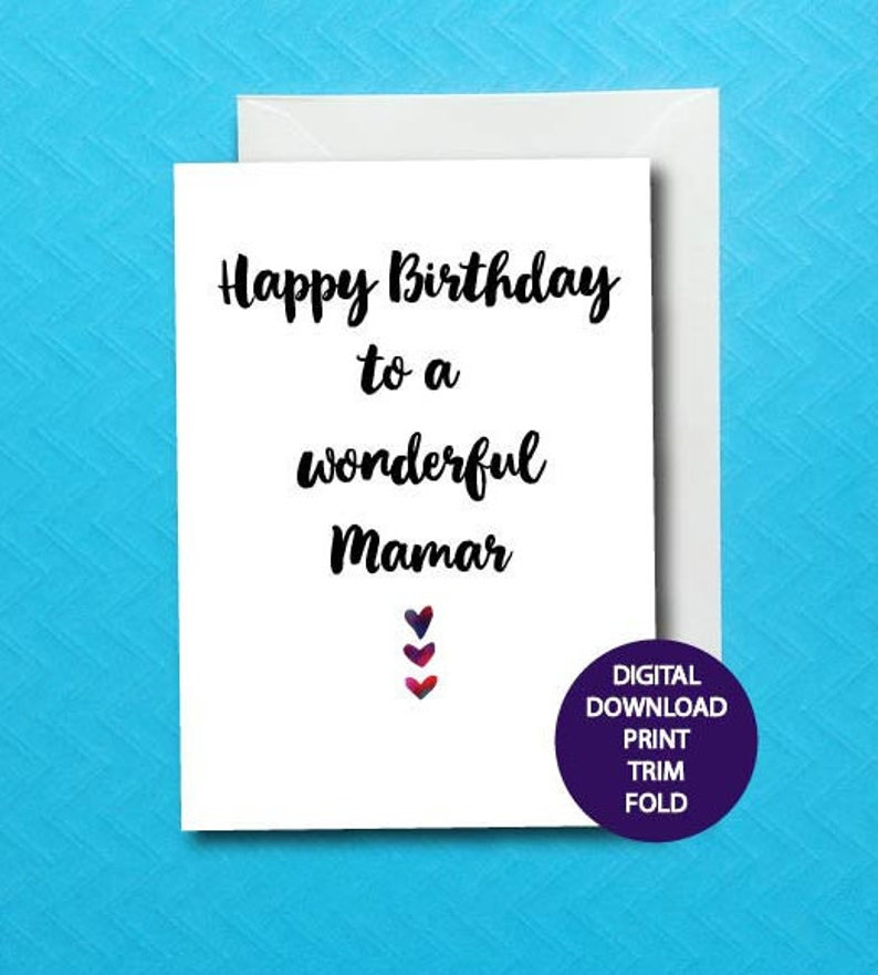 Mamar Birthday Card For Grandparent Printable